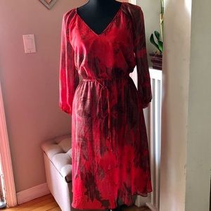 Adrianna Papell Red Print Dress-Size 4
